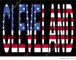 American Flag In Text Illustration Of Cleveland With American Flag