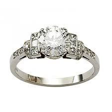 an art deco style diamond ring set in platinum rings from