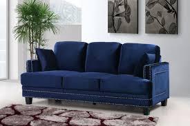 Velvet Sofa Bed Meridian Furniture Ferrara 655navy S Modern Navy Velvet Sofa Couch
