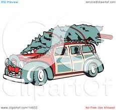 Retro Christmas Lights by Red Woodie Car Carrying A Christmas Tree On The Roof Decorated In