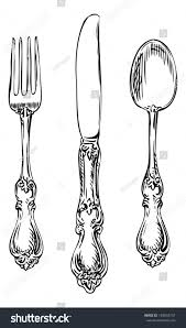 silverware vintage spoon fork knife stock vector 158034737