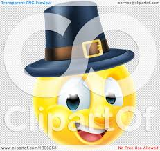clipart of a 3d thanksgiving pilgrim yellow smiley emoji emoticon
