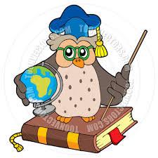 cartoon owl teacher with globe by clairev toon vectors eps 42820