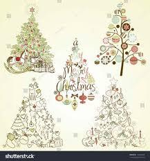 stock retro vintage christmas tree vector decorations ornaments