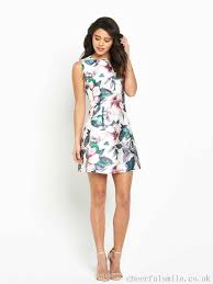 wb2751 modern day fashion 2017 print floral ax paris skater dress
