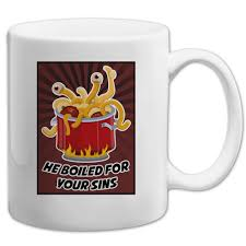 flying spaghetti monster he boiled for your sins 11 oz coffee mug