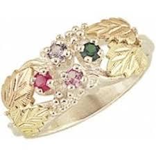 6 mothers ring 10k black gold 6 family birthstone ring bling