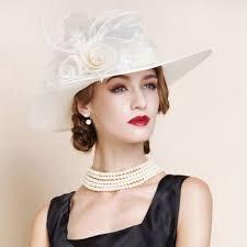 Wedding Dresses Derby Ivory Beaded Flax Organza Bridal Wedding Dress Derby Hats Women