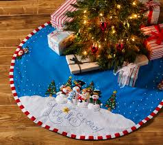 christmas tree skirts let it snow bucilla felt christmas tree skirt kit by engelbreit