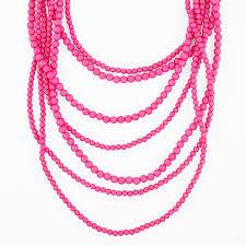 pink necklace images Seven strand layered bead necklace pink statement necklace by jpg