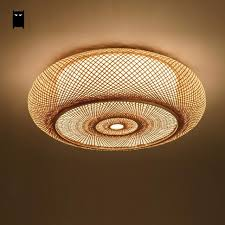 Rustic Ceiling Light Fixture Woven Bamboo Wicker Rattan Lantern Shade Ceiling Light