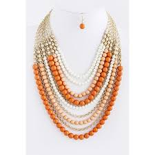 multi layered necklace images Layered beaded necklace set coral orange JPG