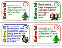 word problem task cards for christmas hanukkah and kwanzaa free