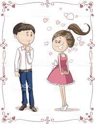 imagenes de amor con muñecos animados amor a primera vista vector de de dibujos animados arte vectorial