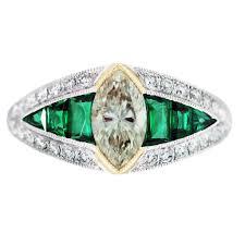 vintage style engagement rings diamond emerald platinum yellow gold vintage style engagement ring