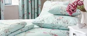 Duck Egg Blue Bed Linen - beautiful birds duck egg bedspread dunelm