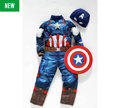 Captain America Halloween Costumes Buy Captain America Fancy Dress Costume 3 4 Argos Uk