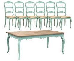Country French Dining Room Furniture Turquoise French Dining Table Set 1 Table 6 Chairs By Shabby