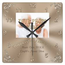 personalized anniversary clock 60th wedding anniversary wall clocks zazzle