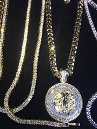 gold big chain necklace images Big lion diamonds cz 18k gold p new chain necklace made in italy jpg