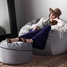 Bean Bag Chair With Ottoman Jaxx Peachtree Pouf Round Bean Bag Ottoman Blue Jaxx