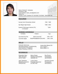 Resume Sample Formats by Filipino Resume Sample Resume For Your Job Application