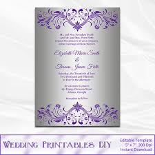 purple and silver wedding invitations silver foil wedding invitation template diy purple and silver