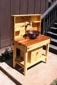 outdoor kitchen sink faucet custom cedar potting bench water station outdoor kitchen