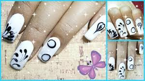 easy 4 nail polish designs ideas using black and white nail polish