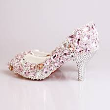 wedding shoes mid heel pink rhinestone beak closed toe mid heel wedding shoes tbdress