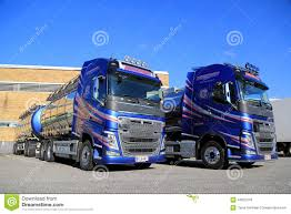 volvo 500 truck two volvo fh 500 chemical tank trucks on a yard editorial stock