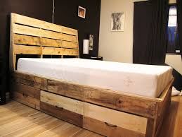 traditional pine wood pallet bed frame with three drawers and