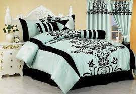 Black Comforter King Size Aqua Blue Black Floral Flocking Comforter Set 7 Piece King Size