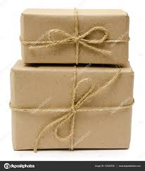 paper wrapped soap gift wrapping from kraft paper wrapped with twine stock photo
