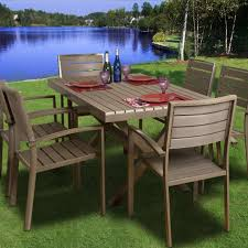 6 Person Patio Dining Set - atlantic glasgow 6 person recycled plastic patio dining set with