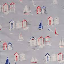 themed material huts grey seaside themed panama cotton fabric