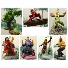 marvel comic set of 7 ornaments