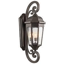 Bronze Landscape Lighting - kichler 9033rz one light outdoor wall mount wall porch lights