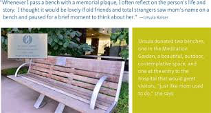 Learn Bench Naming A Bench Honoring A Legacy El Camino Hospital