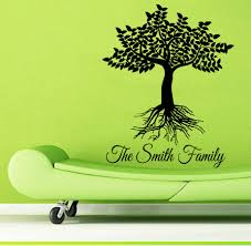 custom family name wall decals family tree roots living room