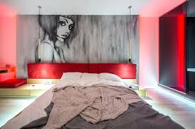 contemporary bedroom w red ambient lighting iqosa bedrooms
