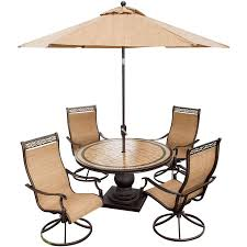 monaco 5 piece swivel rocker dining set with 9 ft table umbrella