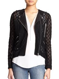 Leather And Lace Clothing The Kooples Lace U0026 Leather Moto Jacket In Black Lyst