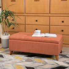 Orange Storage Ottoman Best Storage Ottomans For Living Room Organization Brit Co