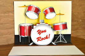 pop up drum set birthday card you rock