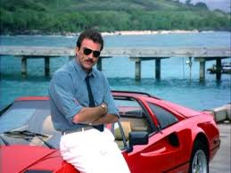 tom selleck 308 tom sellek as magnum p i with his mustache and 308 gts a