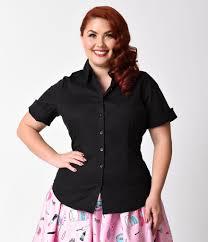 blouse plus size plus size black collared sleeve cotton button up blouse