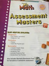 my math assessment masters grade 5 carter 9780021162116 amazon