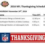 2016 nfl thanksgiving schedule times tv schedules live
