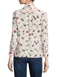 womens silk blouses weekend max mara aeroso cat print silk blouse pink s tops